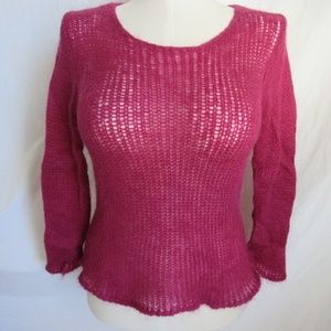 Eileen Fisher Magenta Loose Knit Sweater M